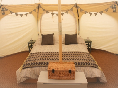 This glamping tent at Tyn Cornel campsite has a proper double bed