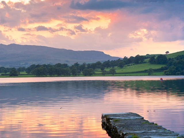 Calm view of Bala Lake or Llyn Tegid 4 miles from Tyn Cornel Camping, Gwynedd, North Wales