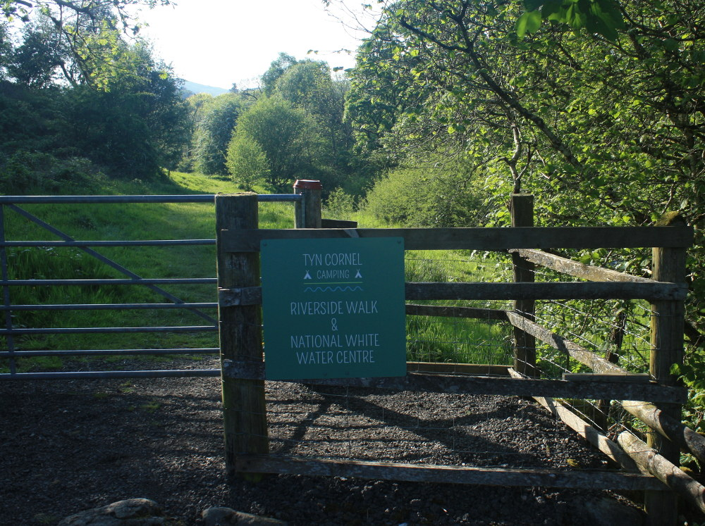 Riverside Walk from Tyn Cornel past the National White Water Centre and alongside the River Tryweryn