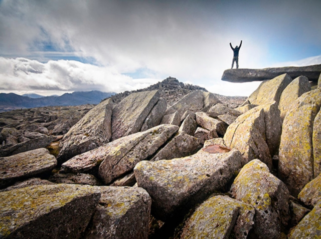 Walker on Cantilever Rock on Glyder Fach, Snowdonia, North Wales