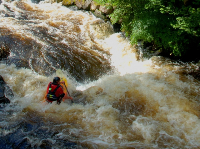 Kayaker enjoying the River Tryweryn close by to Tyn Cornel Camping