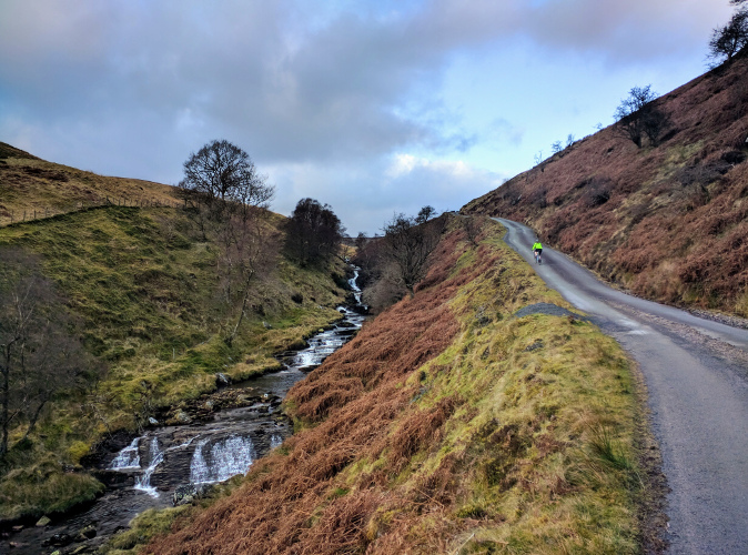 Climbing out on a road ride from Lake Vyrnwy
